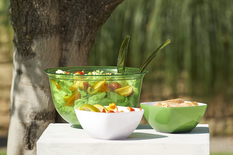 2.0 litres green Emsa 514562 Superline salad bowl with lid /Ø 22 cm