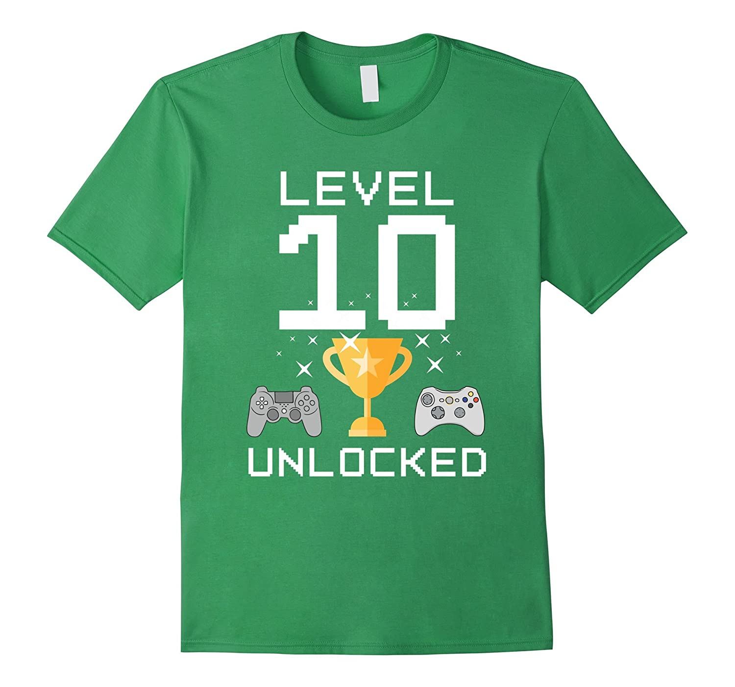 10th Birthday Level 10 Unlocked Funny Gamer T-shirt Gaming-TJ