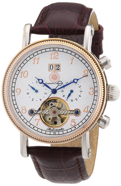 Constantin Durmont Tradition - Reloj analógico de caballero automático con correa de piel marrón - sumergible a 30 metros