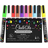 Chalk Pens - Pack of 10 neon colour markers - Use on Whiteboard, Chalkboard, Window, Blackboard - 3 mm Bullet Tip