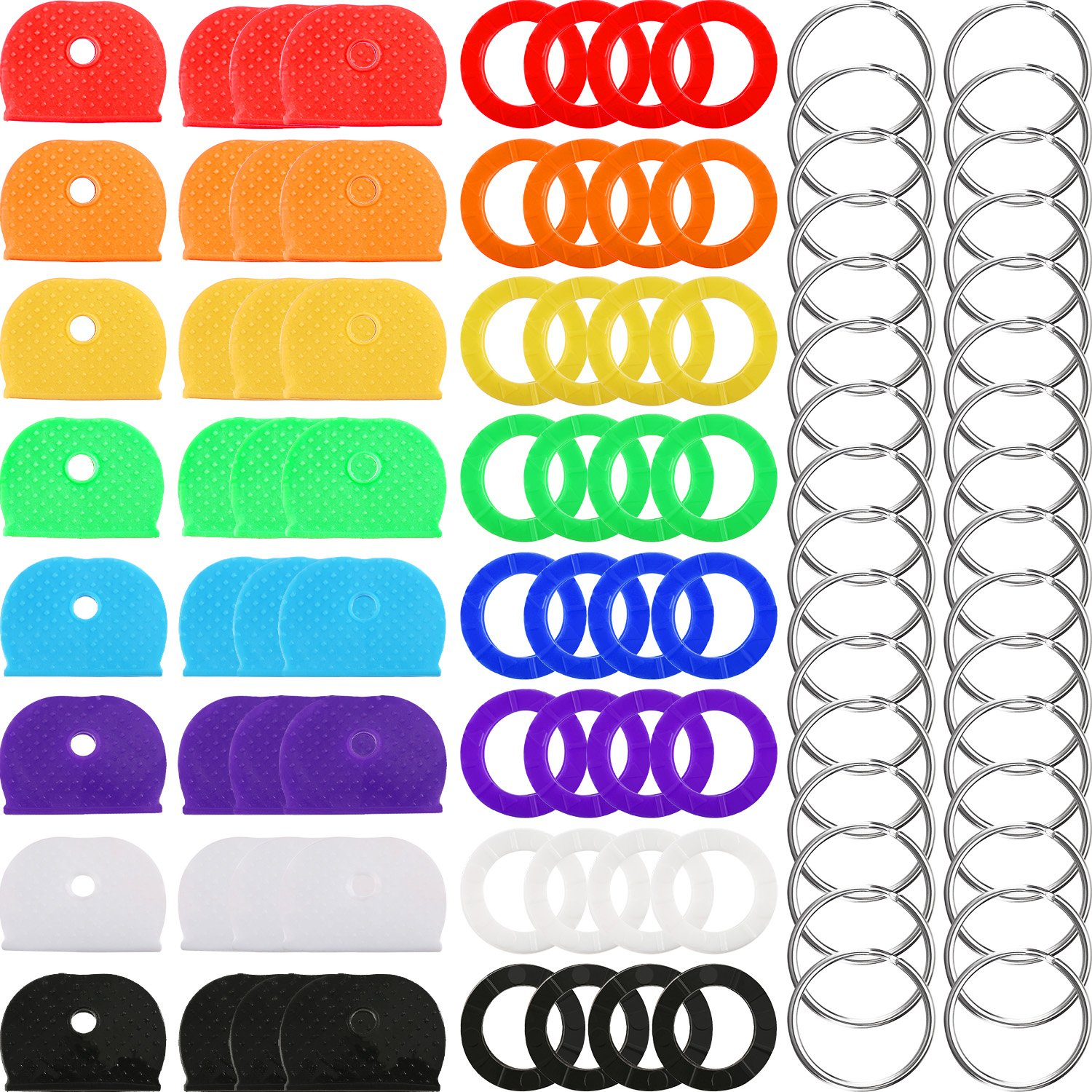 64 Pieces Key Caps Covers Kit, Plastic Key Identifier Rings in 8 Different Colors with 32 Pieces Steel Key Rings for Keys Organization Chuangchou