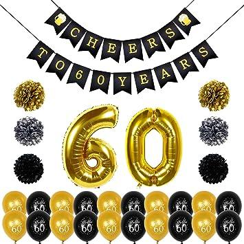 Konsait Saludos a 60 cumpleaños Decoracion Bandera Banderines, Globos de cumpleaños numeros 60, 20pcs Globos de látex de Oro Negro, pompón Papel para Decoraciones Fiesta de Cumpleaños de 60 Años: Amazon.es: Juguetes