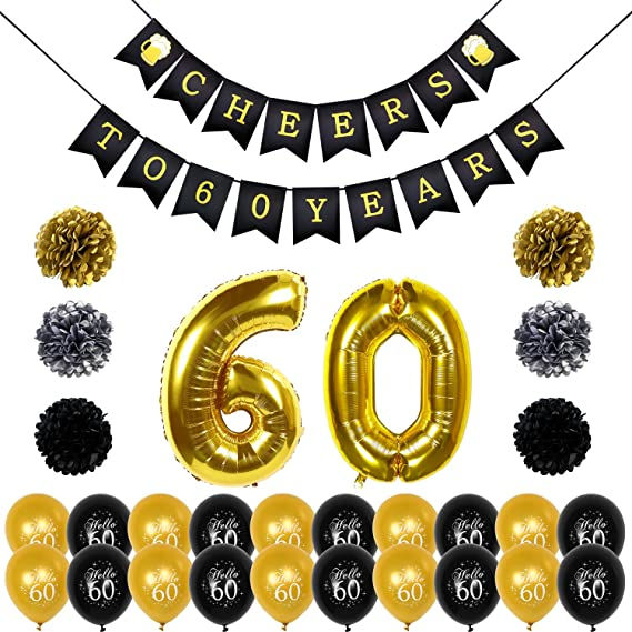 Konsait Saludos a 60 cumpleaños Decoracion Bandera Banderines, Globos de cumpleaños numeros 60, 20pcs Globos de látex de Oro Negro, pompón Papel para ...