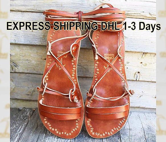 fcc03cc979e Amazon.com  Lace Up Brown Sandals