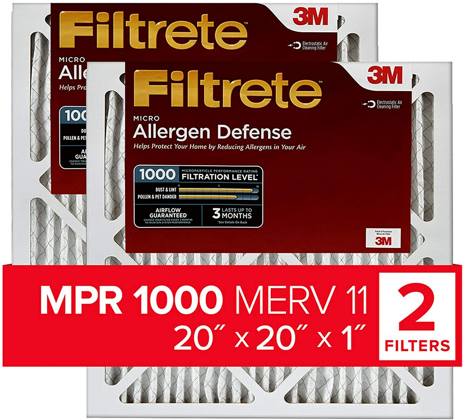 Filtrete 20x20x1, AC Furnace Air Filter, MPR 1000, Micro Allergen Defense, 2-Pack (exact dimensions 19.719 x 19.719 x 0.84) - Replacement Furnace Filters -