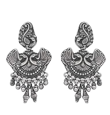 00fabeeb3 Buy Pure Silver Jhumki/Jhumkas/Sterling Silver traditional Oxidized look  Jhumki/Jhumkas Earrings for women by Silver Zone (Real Silver Jewellery)  Online at ...