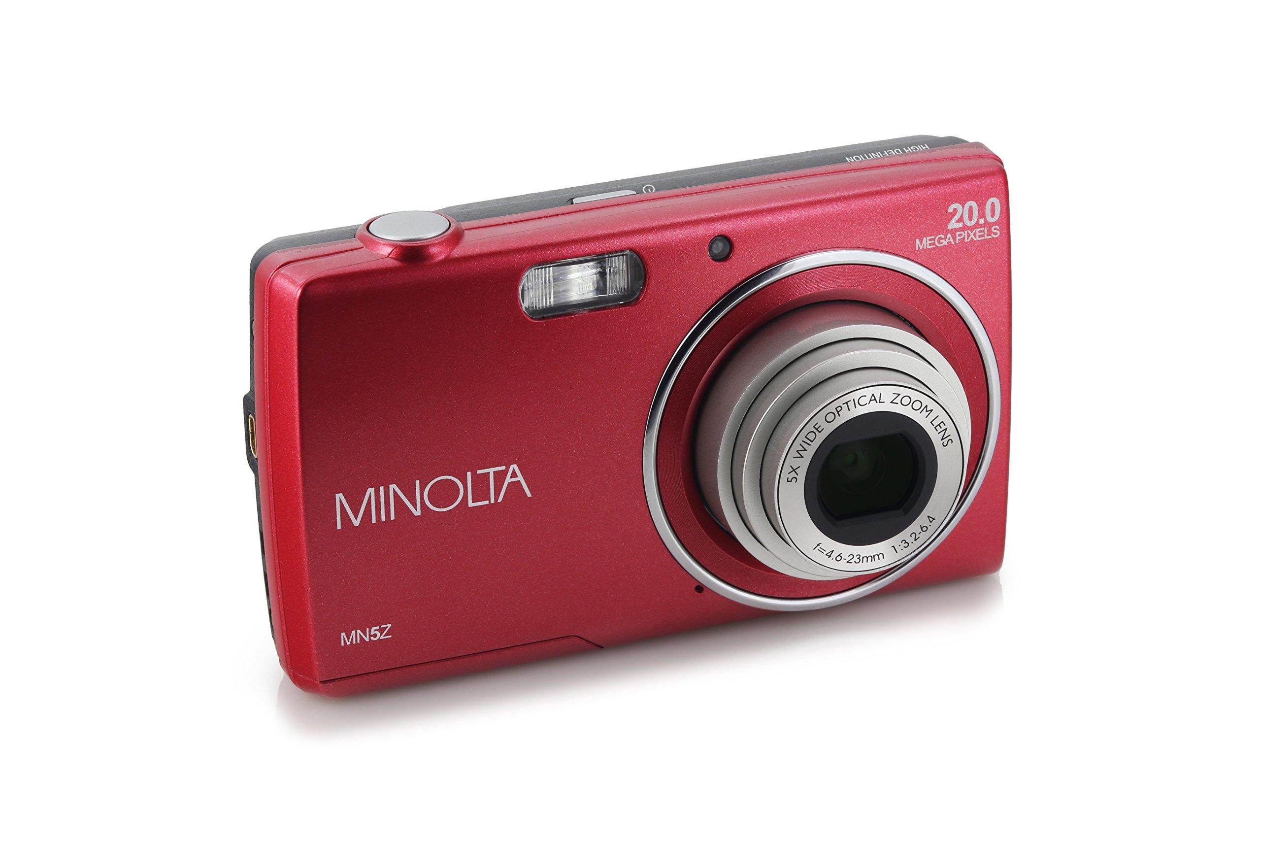 Minolta 20 Mega Pixels Digital Camera, 5x Optical Zoom & HD Video with 2.7'' LCD, Red (MN5Z-R)
