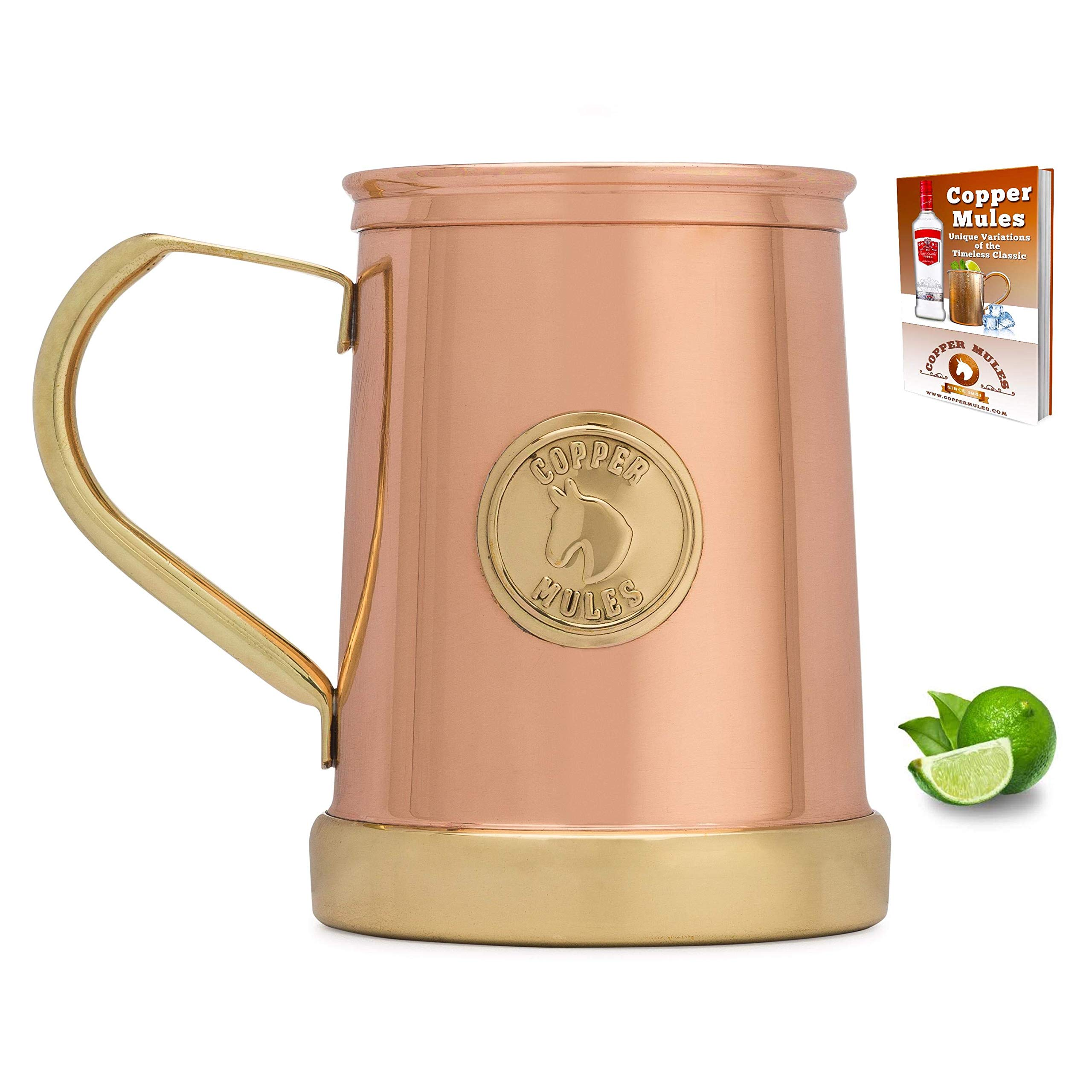 Moscow Mule Copper Mug by Copper Mules – Innovative Patent Pending Design is 100% HANDCRAFTED of Pure Copper and Brass - ULTRA comfort handle - Solid Brass Base - 335gram Empty Weight - holds 18oz