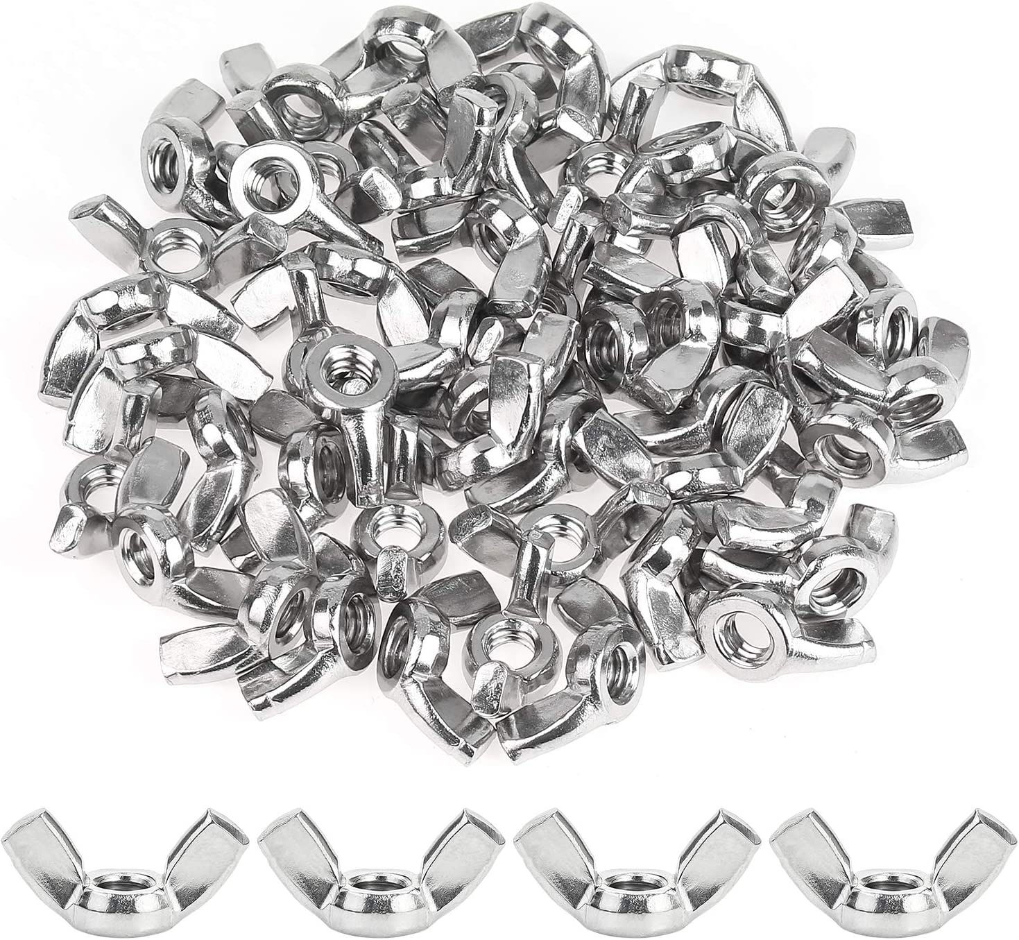 304 18-8 Wing Nut Stainless Steel Powlankou 50 Pieces 1//4-20 Stainless Wing Nut