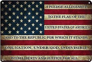 Teegum USA American Flag Metal Tin Sign Vintage Bar Wall Decor US Pledge of Allegiance