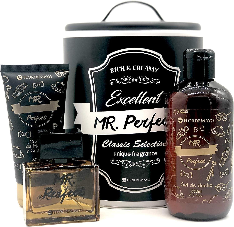 Set de Regalo para Hombre, Colonia 35 ml, Gel de Ducha 250 ml y Crema Hidratante 80 ml, Mr. Perfect