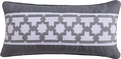 Levtex Home Montecito Pieced Crewel Pillow, Crewel, Gray