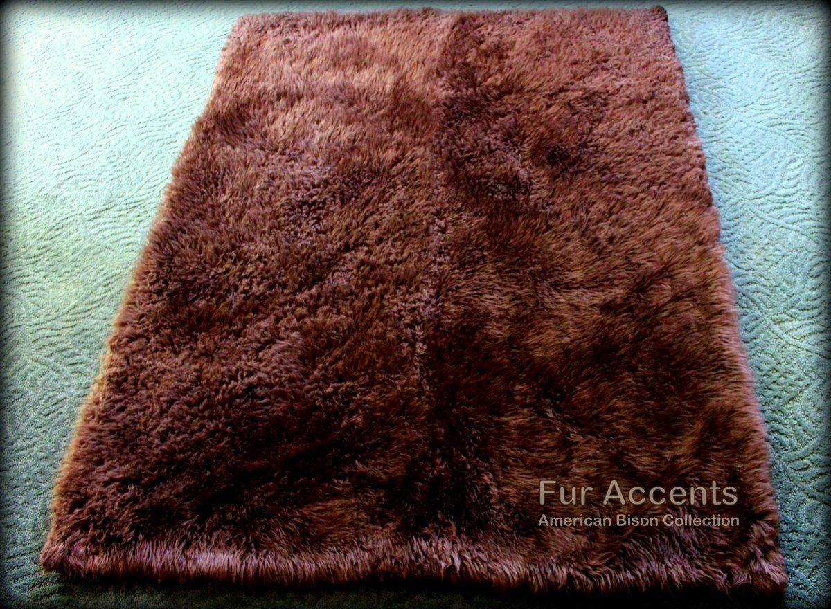 Fur Accents Sheepkin Area Rug Collection / Dark Brown Faux Fur / Rectangle / Runner / 2'x8'