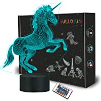 FULLOSUN Unicorn Bedside Lamp 3D Illusion Night Light,16 Colors Changing Remote Control Optical Light,Room Decor Unique…