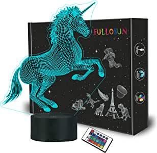 FULLOSUN Unicorn Bedside Lamp 3D Illusion Night Light,16 Colors Changing Remote Control Optical Light,Room Decor Unique Birthday Girls Kids Toddler