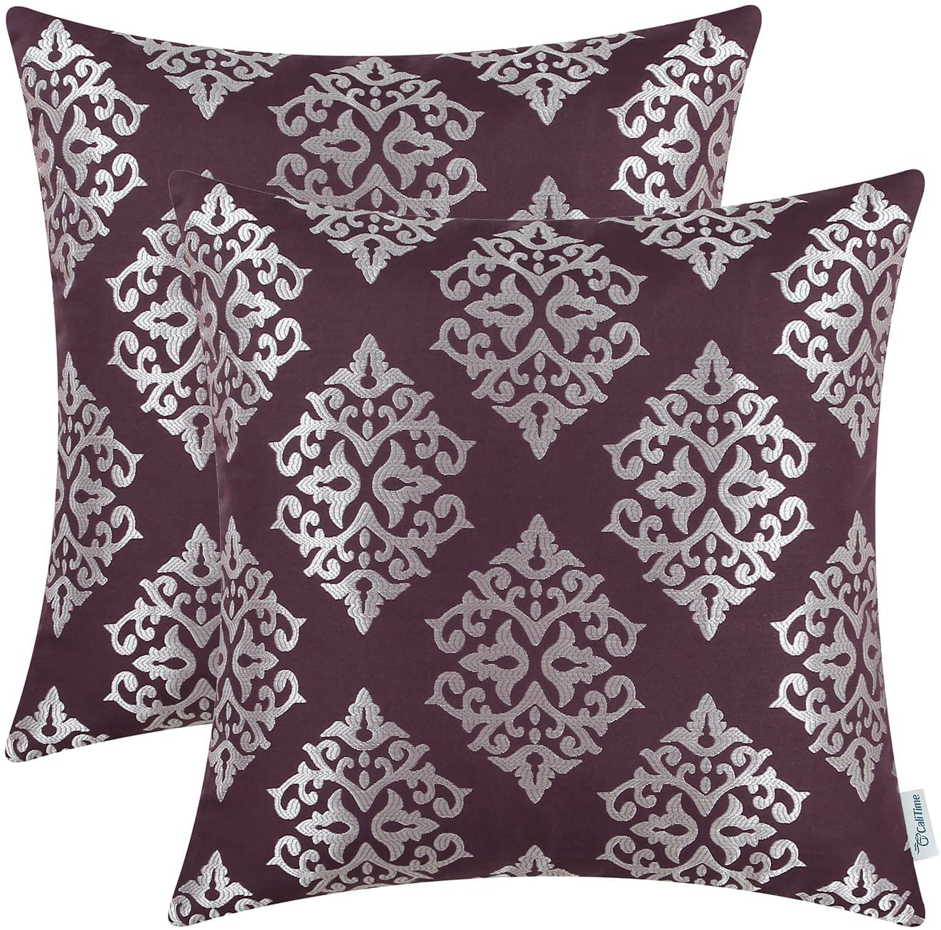 Pack Of 2 Calitime Soft Jacquard Throw Pillow Covers Cases For Couch Sofa Home Decoration Vintage Damask Floral 18 X 18 Inches Aubergine Amazon Ca Home Kitchen