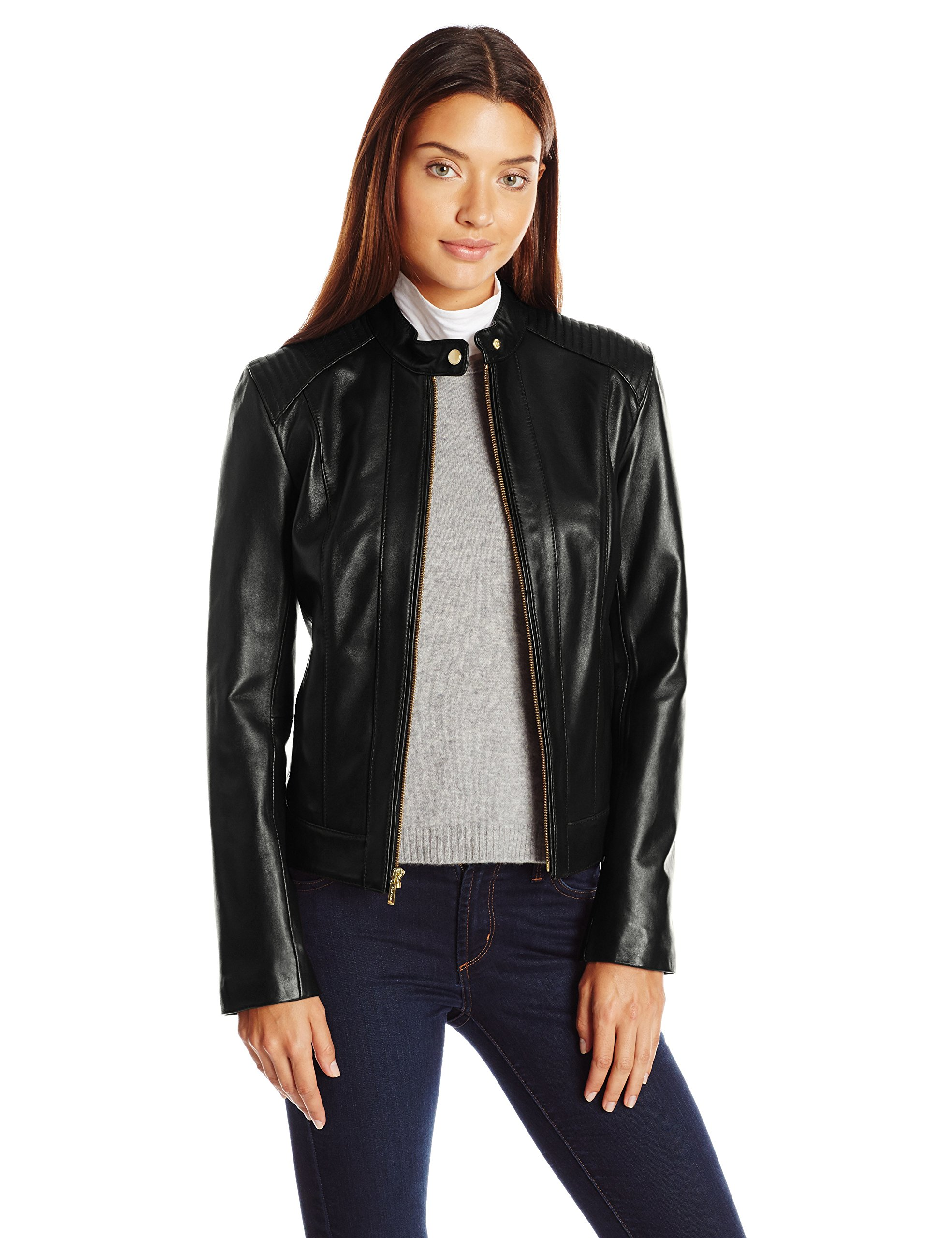 Cole Haan Women's Racer Jacket With Quilted Panels, Black, Medium