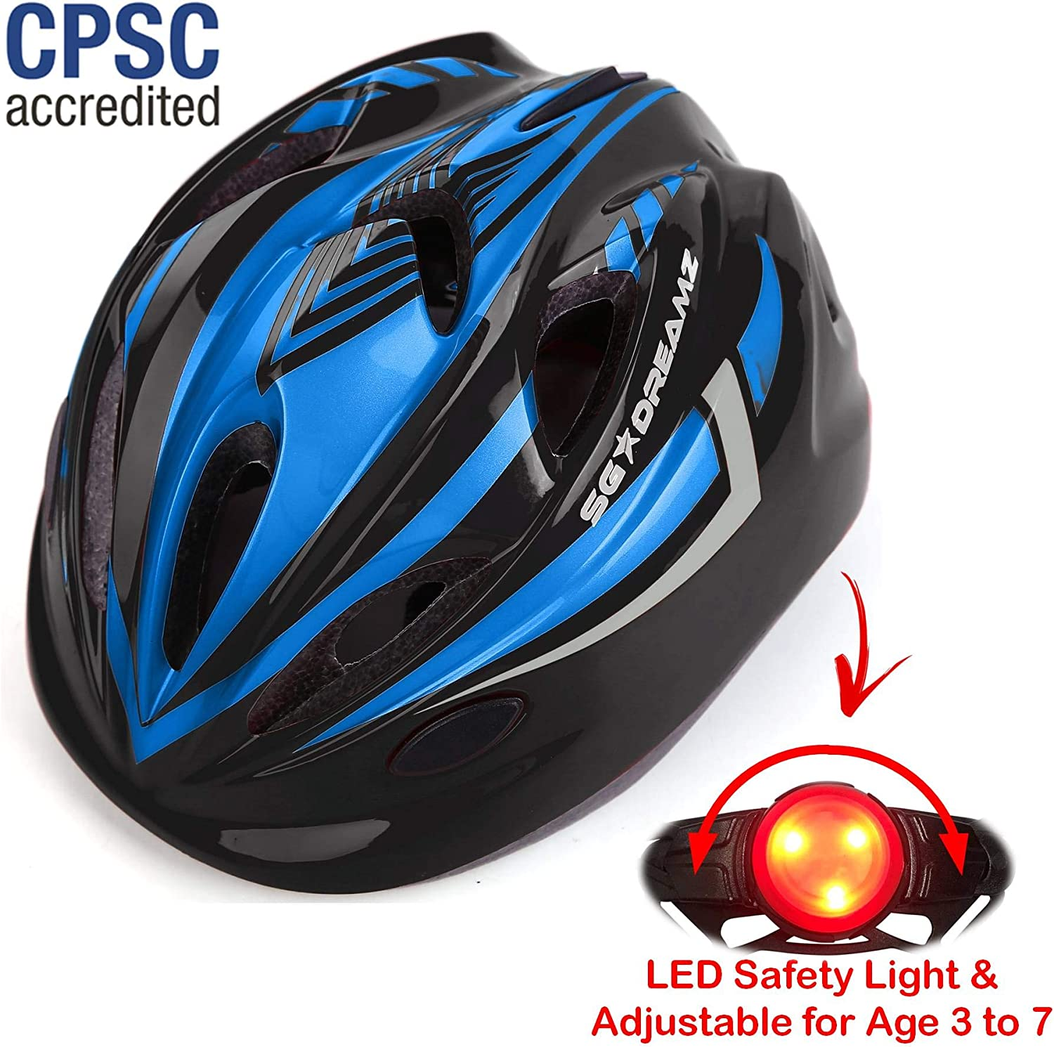 Kids Bike Helmet Adjustable from Toddler to Youth Size, Ages 3 to 7 – Durable Kid Bicycle Helmets with Fun Racing Design Boys and Girls Will Love – CSPC Certified for Safety