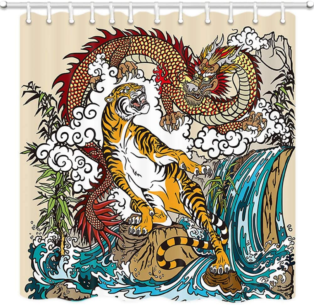 JAWO Asian Decor Shower Curtain, Chinese Dragon and Tiger in The Landscape with Waterfall Bathroom Curtain, Polyester Fabric Bath Curtains with Hooks 69W X 70L Inches