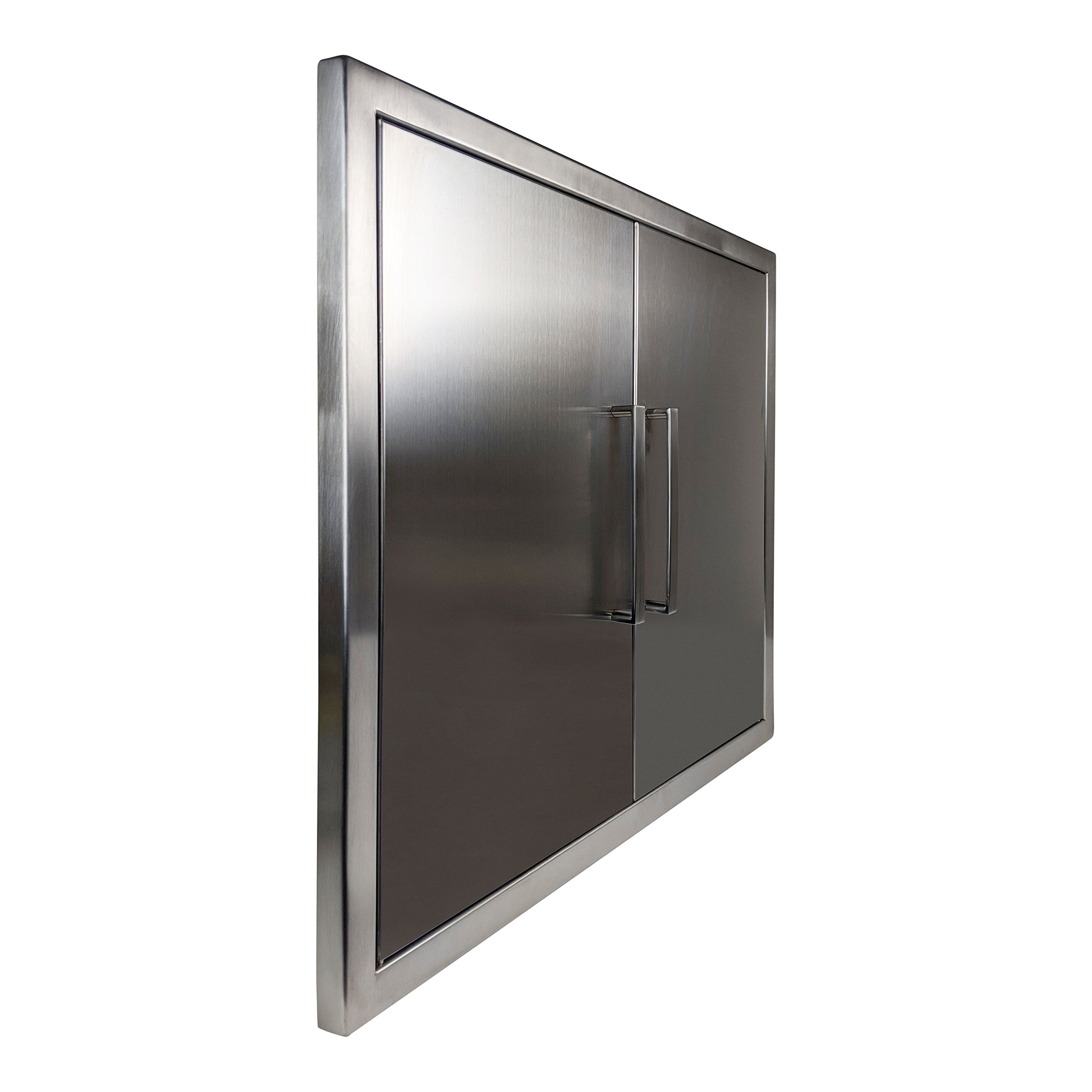 Katzington BBQ ACCESS DOORS - Modern Style - 31'' Double Doors - 304 Grade Stainless Steel - Double Walled Construction - Barbecue Island/Outdoor Kitchen Access Door - Built-in Paper Towel Holder