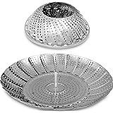 Cestello per vapori vegetale-100% acciaio inossidabile di alta qualità-da 18 x 28 cm - pieghevole pieghevole - senza ruggine-facilmente regolabile su pentole e padelle diverse-Utopia Kitchen