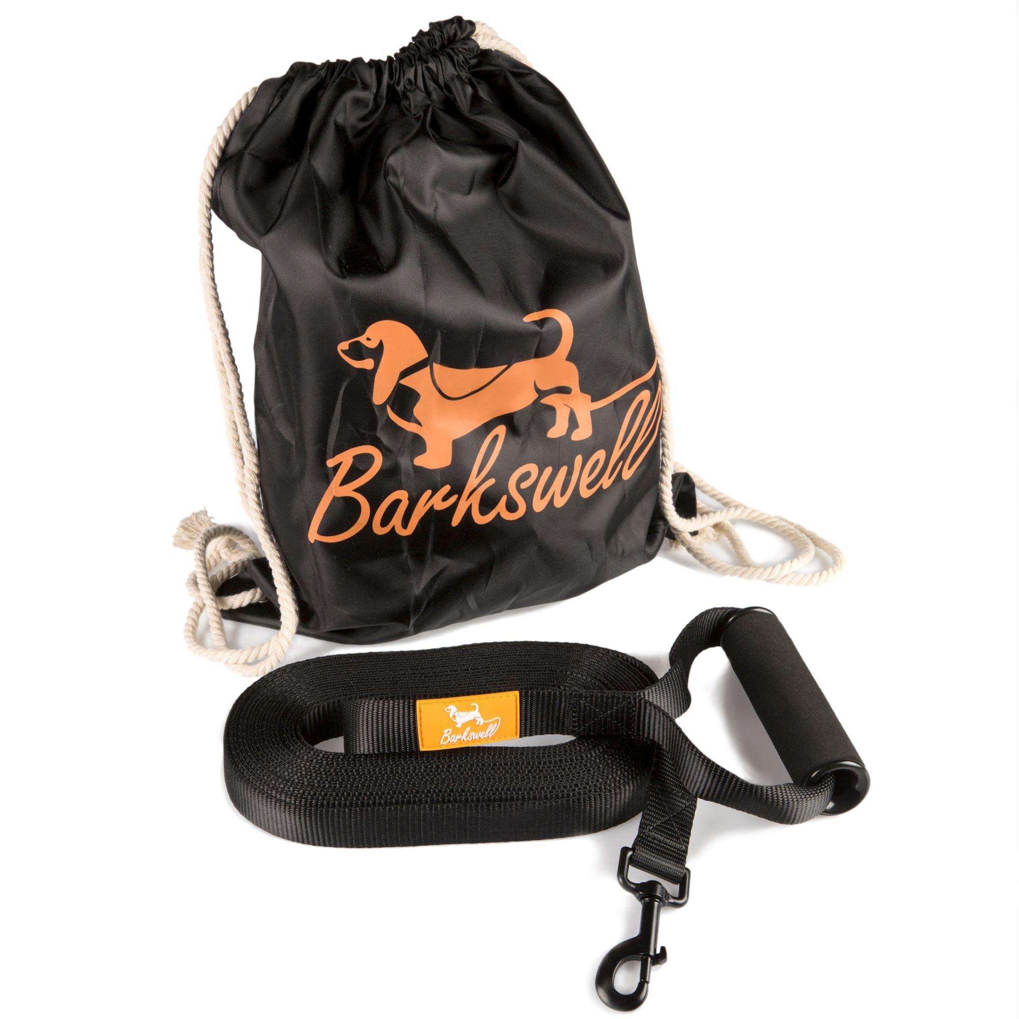 Schleppleine - Hunde Trainings Leine – für Welpen und Hunde – Schaumstoff gepolsteter Walzen-Griff – kostenlose Tragetasche – aus langlebigem Nylon hergestellt – 2.5cm breit. product image