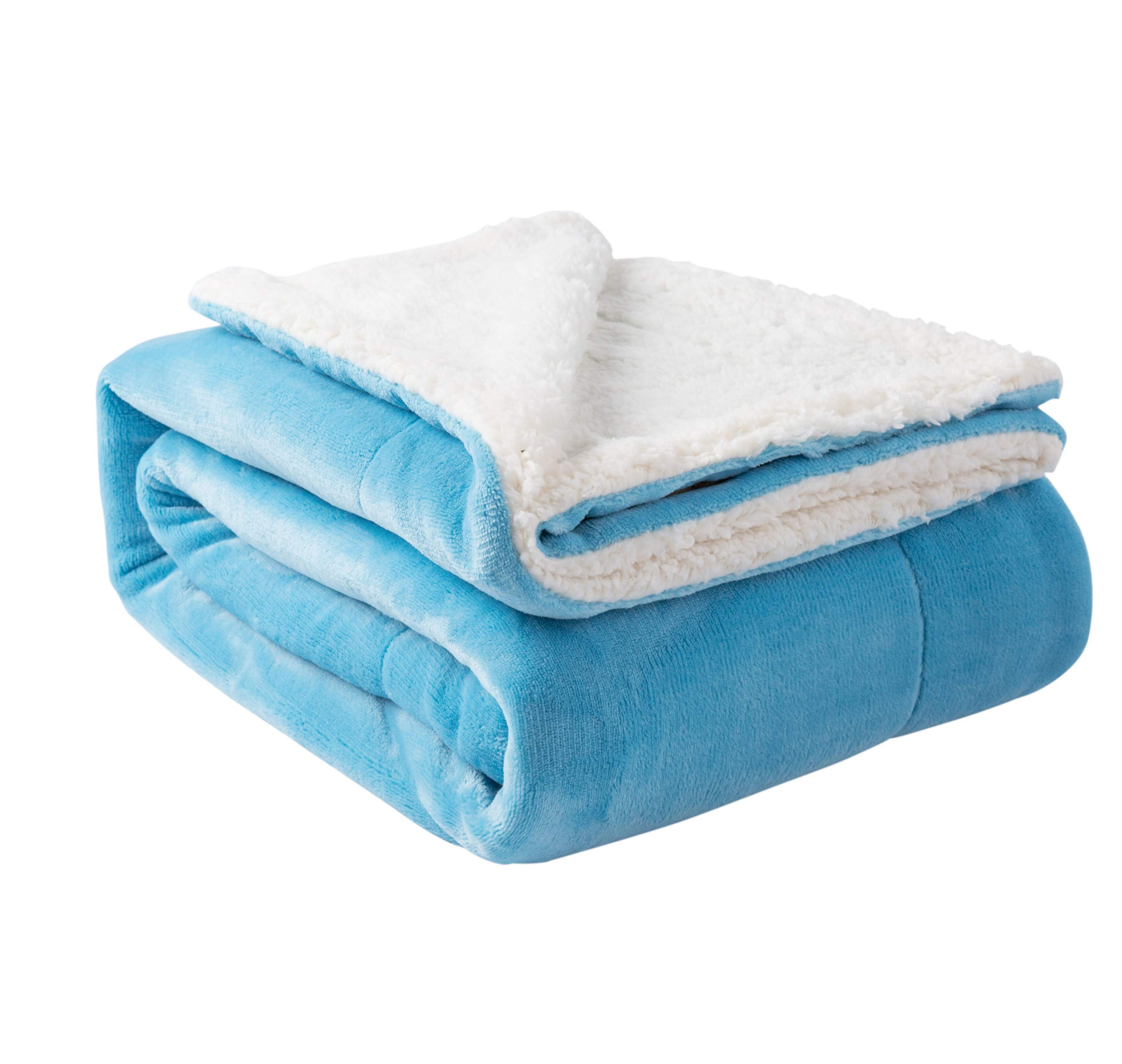 All Season Sherpa Throw Skyblue Twin 60''x80'' Reversible Fuzzy Soft Blanket for Bed or Couch