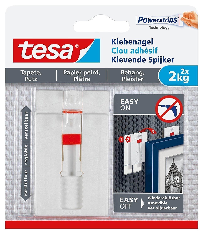 tesa 77777- Lot de 2 Clous Adhé sifs Ajustables pour Papier Peint 2kg 77777-00000-00