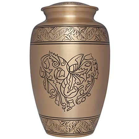 Liliane Memorials Corose-L Brass Funeral Cremation Urn with Engraved Heart Made of Flowers, Large 200 lb, Gold