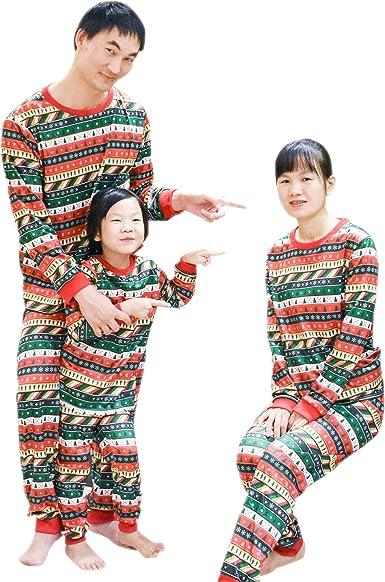 BOZEVON Niños Adultos Unisex Pijamas de Navidad Conjuntos - Pijamas de Navidad Familiares Árboles de Navidad Copo de Nieve Ropa de Dormir