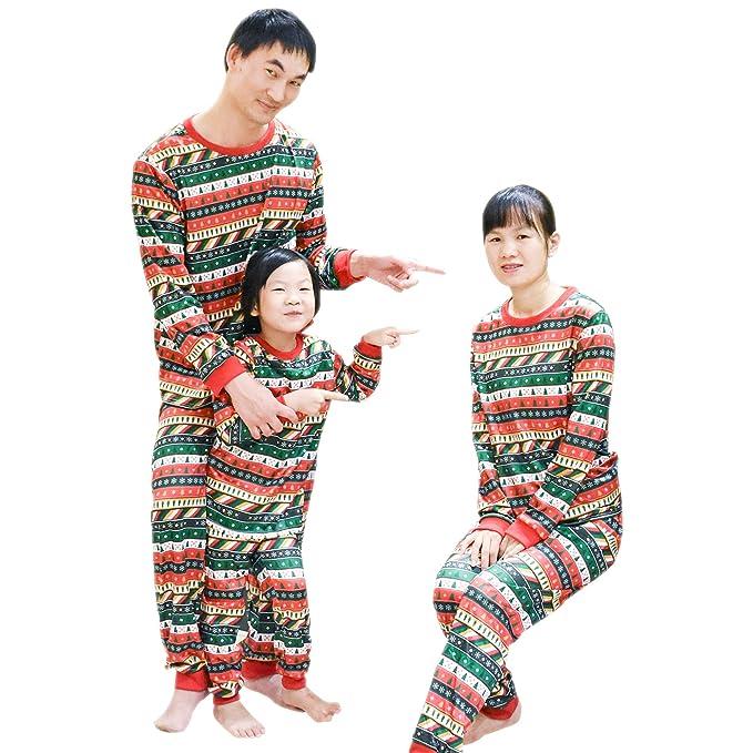 ab53e5ecce BOZEVON Bambini Adulto Unisex Pigiama Natale Set - Abbinamenti Famiglia  Natale Pigiama Natale Alberi Fiocco di Neve Sleepwear: Amazon.it:  Abbigliamento