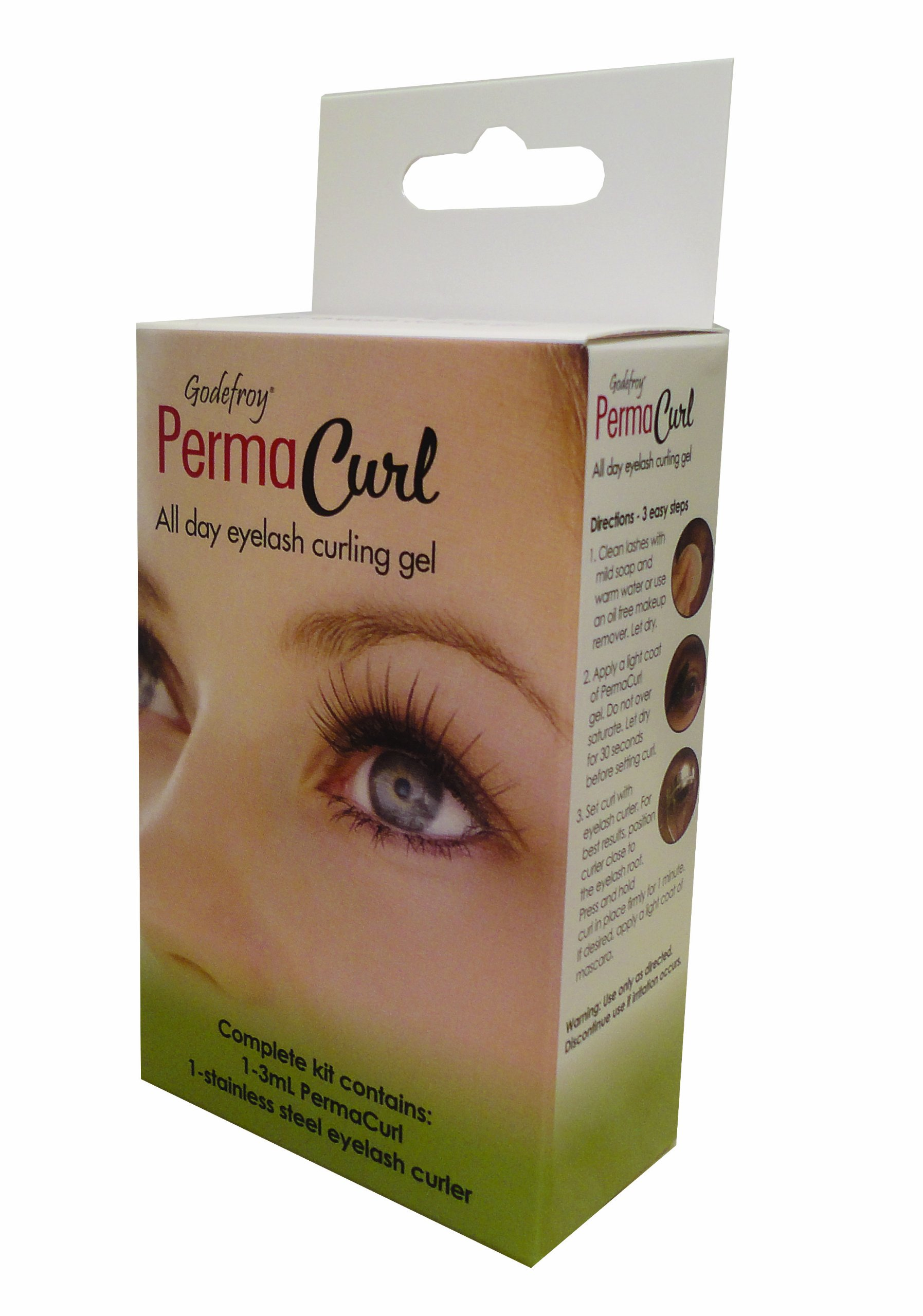Godefroy 2 Piece Permacurl Kit (All Day Eyelash Curling Gel Plus Stainless Steel Eyelash Curler)