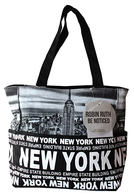 fbc3410ca00cf Amazon.com  Robin Ruth NY Skyline Canvas Tote Shoulder Small Bag Black  White  Shoes