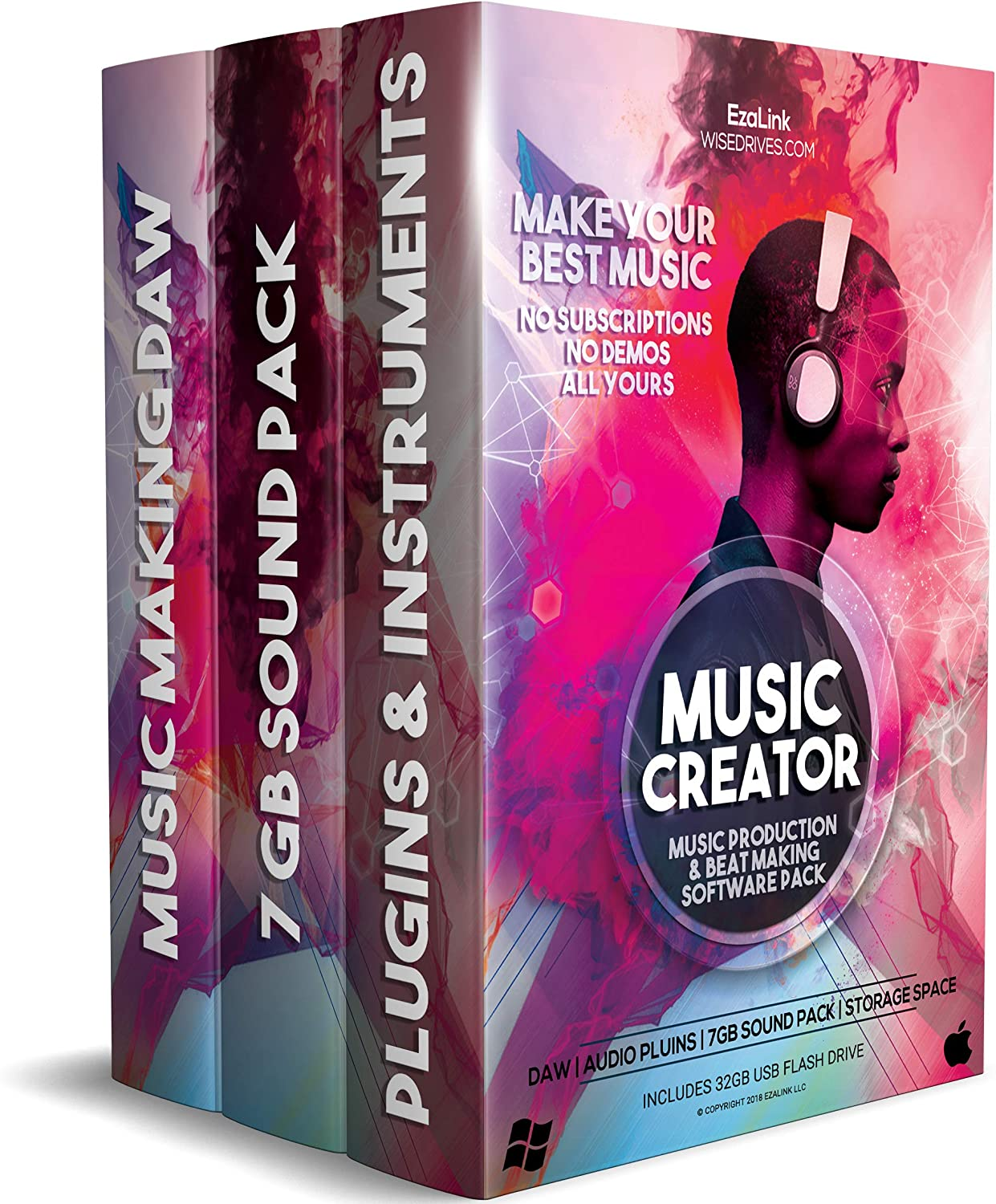 Music Editing Software for Recording Production Mixing & Beat Making Bundle - DAW, Audio Plugins, 7Gb Sound Pack on 32Gb USB (Windows PC & Mac)
