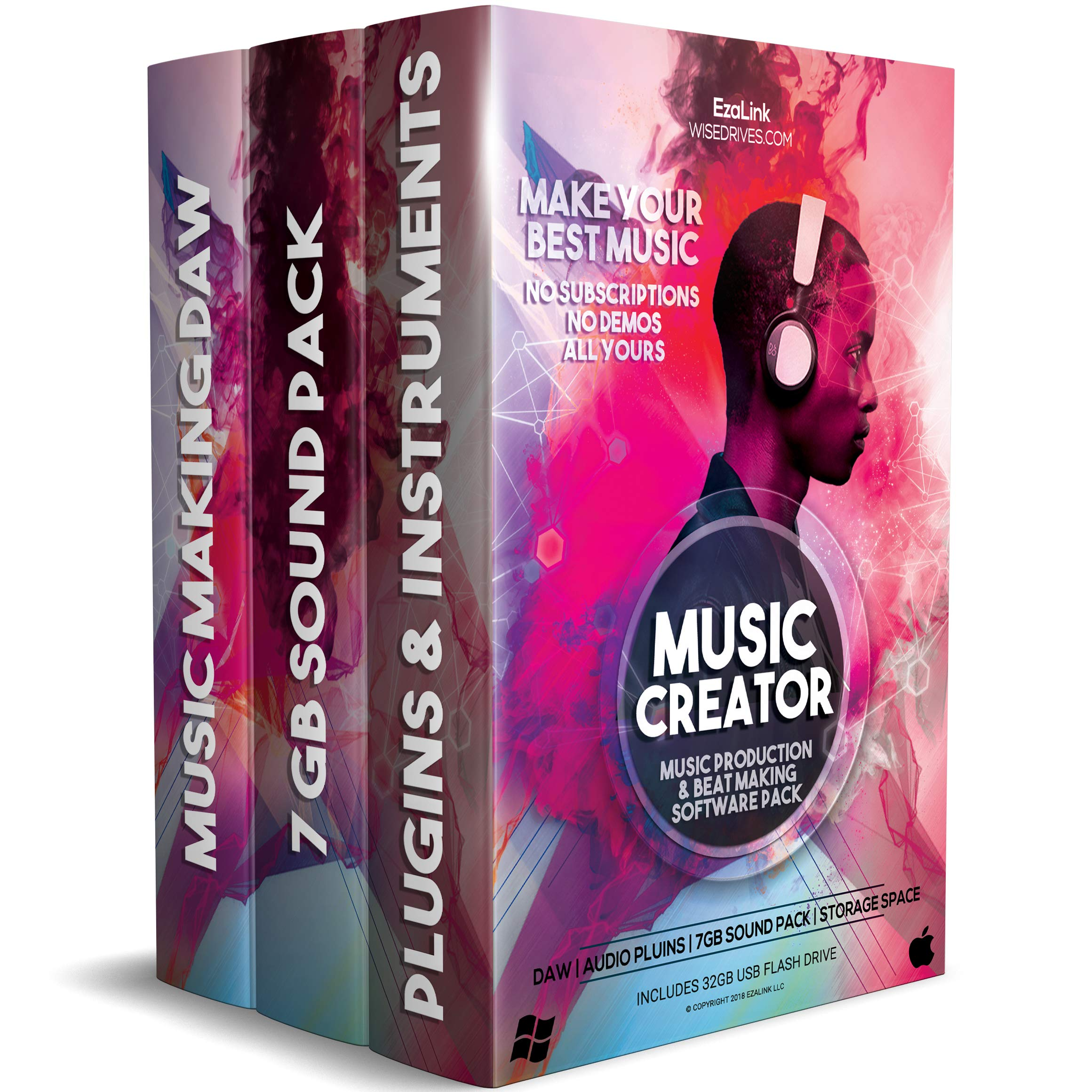 Music Editing Software for Recording Production Mixing & Beat Making Bundle - DAW, Audio Plugins, 7Gb Sound Pack on 32Gb USB (Windows PC & Mac) by Music Creator 2018