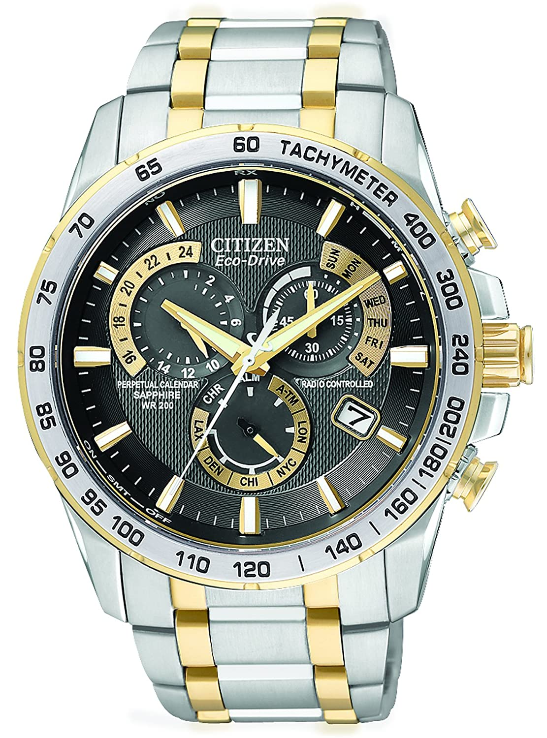 f778b1ef2 Citizen Men's Eco-Drive Chronograph Watch AT4004-52E with a Black Dial and  a Two Tone Stainless Steel Bracelet: Amazon.co.uk: Watches