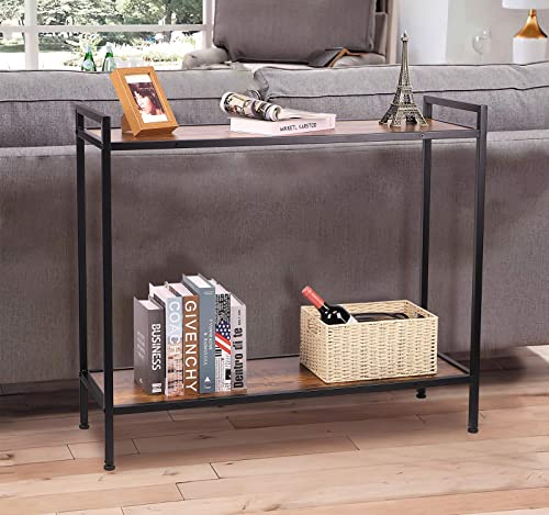 Narrow Console Table with Storage Shelf, Industrial Sofa Table with Open Shelf, Vintage Entryway Table for Hallway, Metal Frame