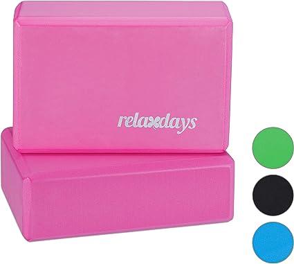 Relaxdays Pack de 2 Bloques de Yoga, Adultos Unisex, Rosa, 8 x 23 ...