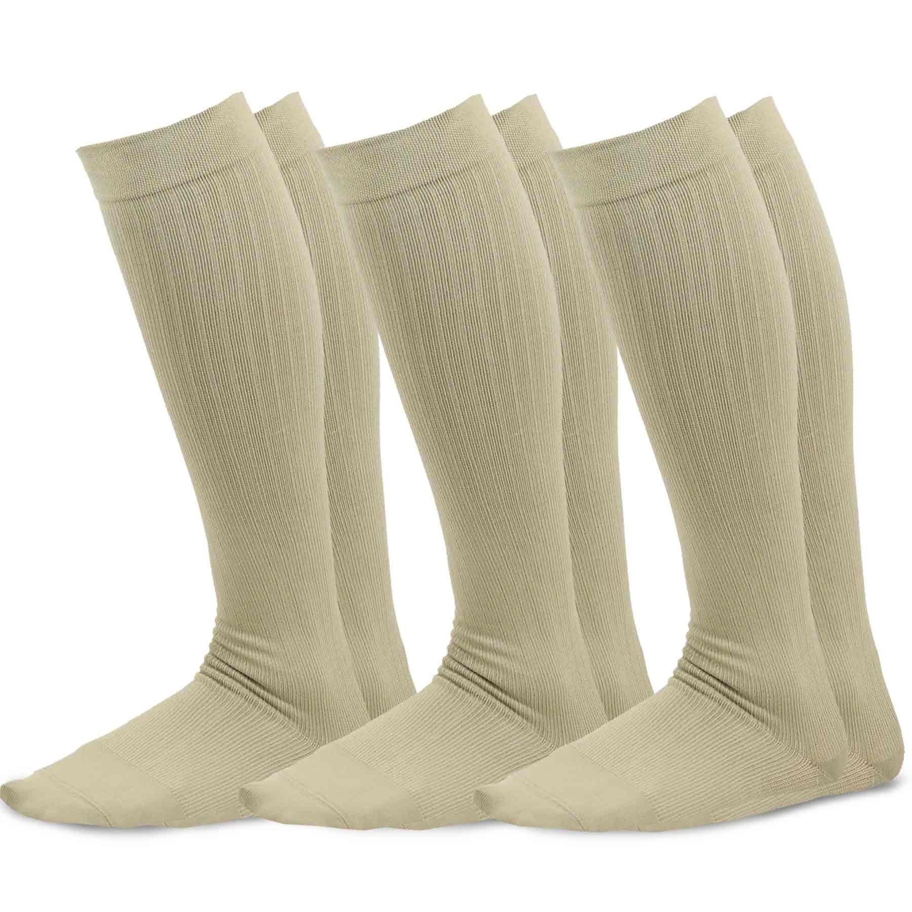 TeeHee Microfiber Compression Knee High Socks with Rib 3-Pack (Small (8-9), Beige)