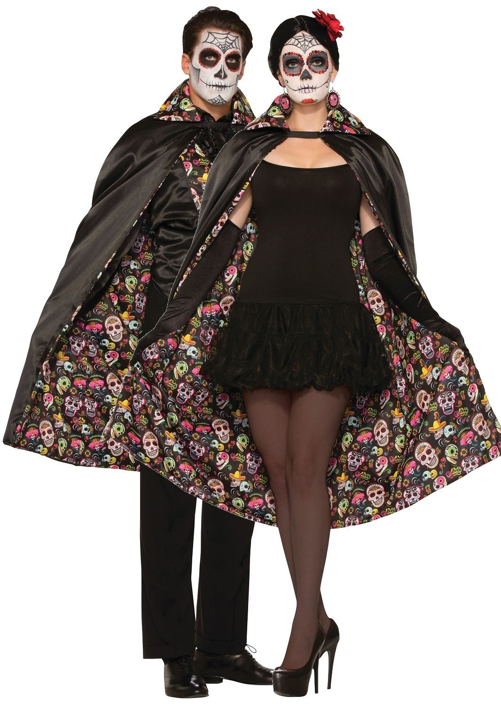 Deluxe Day of the Dead Eyemask Fancy Dress Halloween Skeleton Ladies Costume Acc