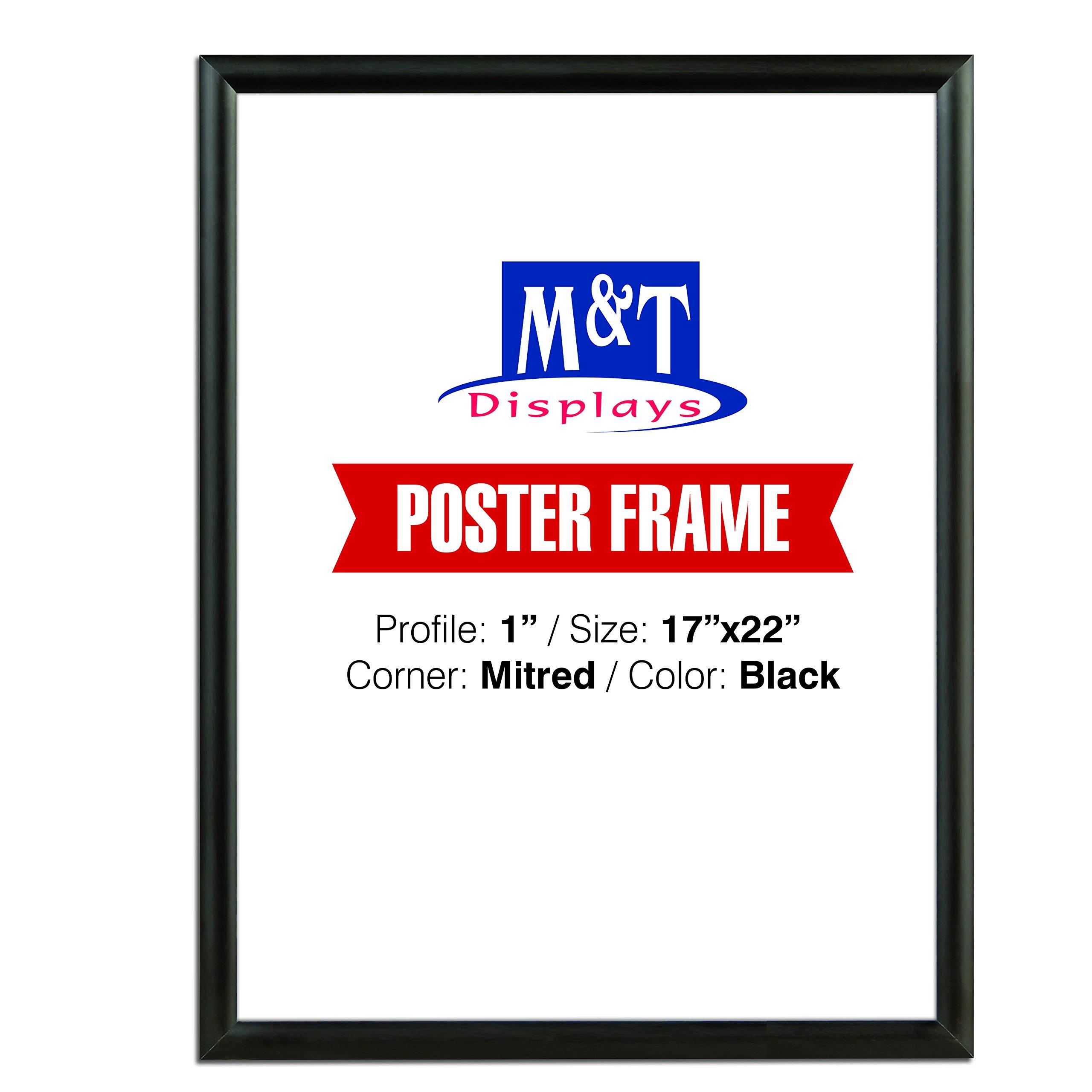 M&T Displays Snap Poster Frame, Poster Size: 17x22 Black Color, 1'' Mitred Corner, Front Loading
