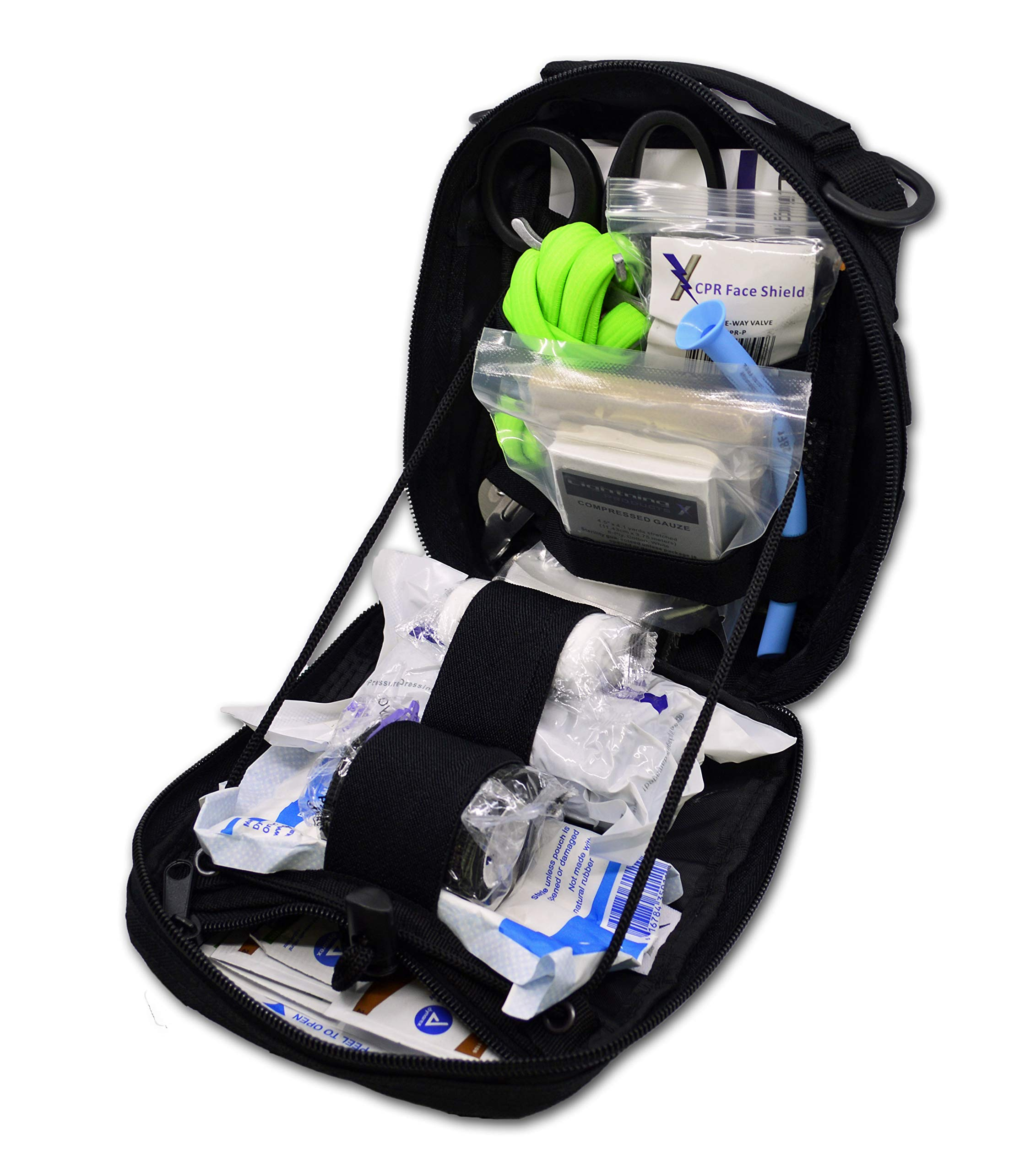 Lightning X Individual First Aid Trauma/Hemorrhage Control Kit in MOLLE IFAK Pouch Value Edition - Black by Lightning X Products