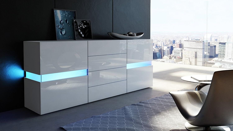Sideboard weiß schwarz hochglanz  Sideboard Kommode Flow, Korpus in Weiß matt / Weiß Hochglanz ...