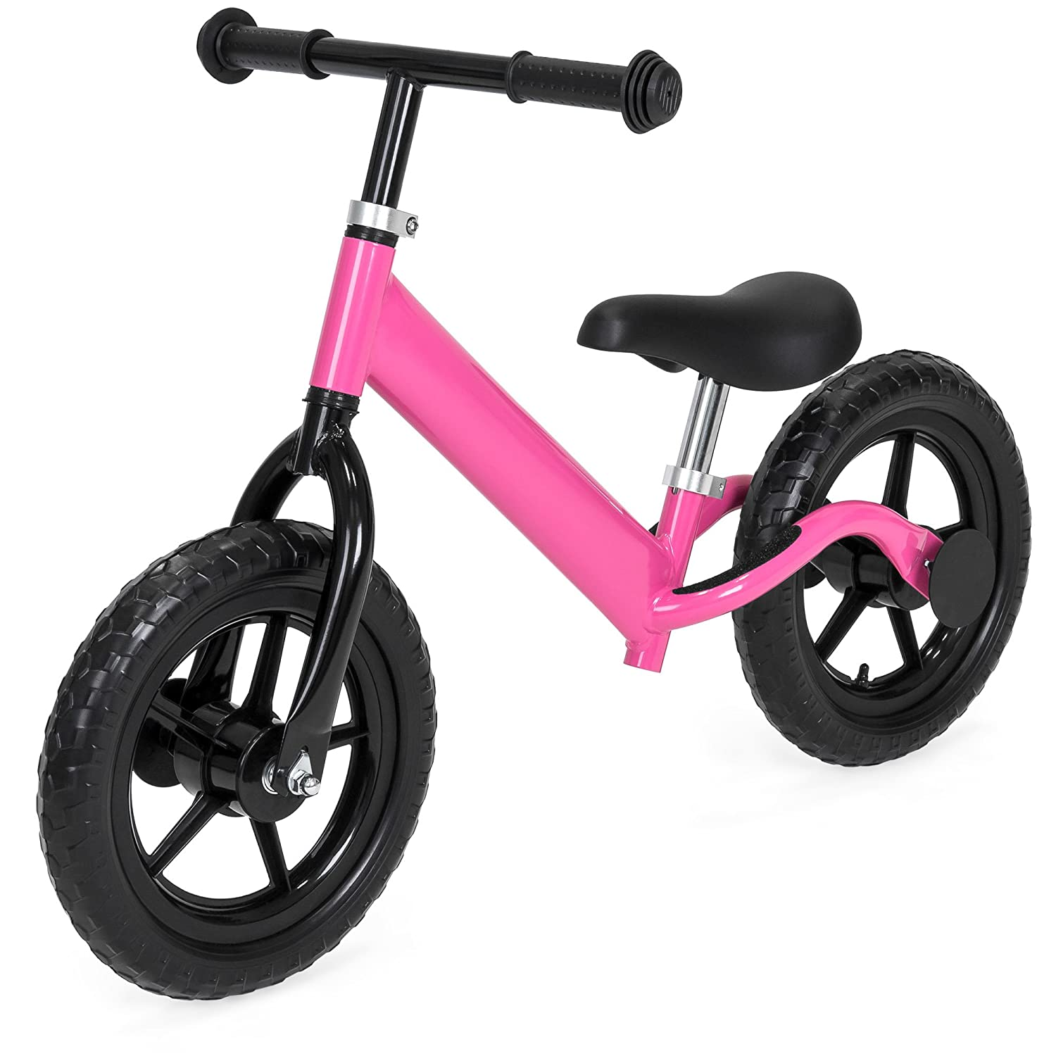 Best Choice Products Kids Self Balancing Walking Training Bicycle w/Foam Tires, Adjustable Seat and Handle Adjustable Seat and Handle - Black