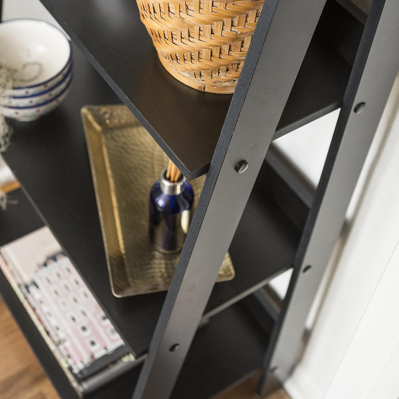 Walker Edison 4 Shelf Simple Modern Wood Ladder BookcaseTall Bookshelf Storage Home Office Black55 Inch