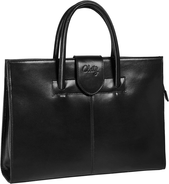 Cluty Große Größe: Damen, Leder Damen Handtasche Schwarz