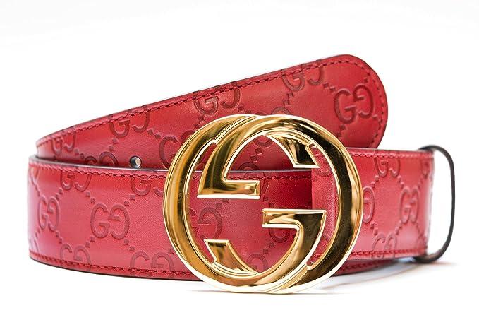 Gucci cinturón para los hombres y las mujeres correrojo de oroa de cuero  rojo  5754cdd864d