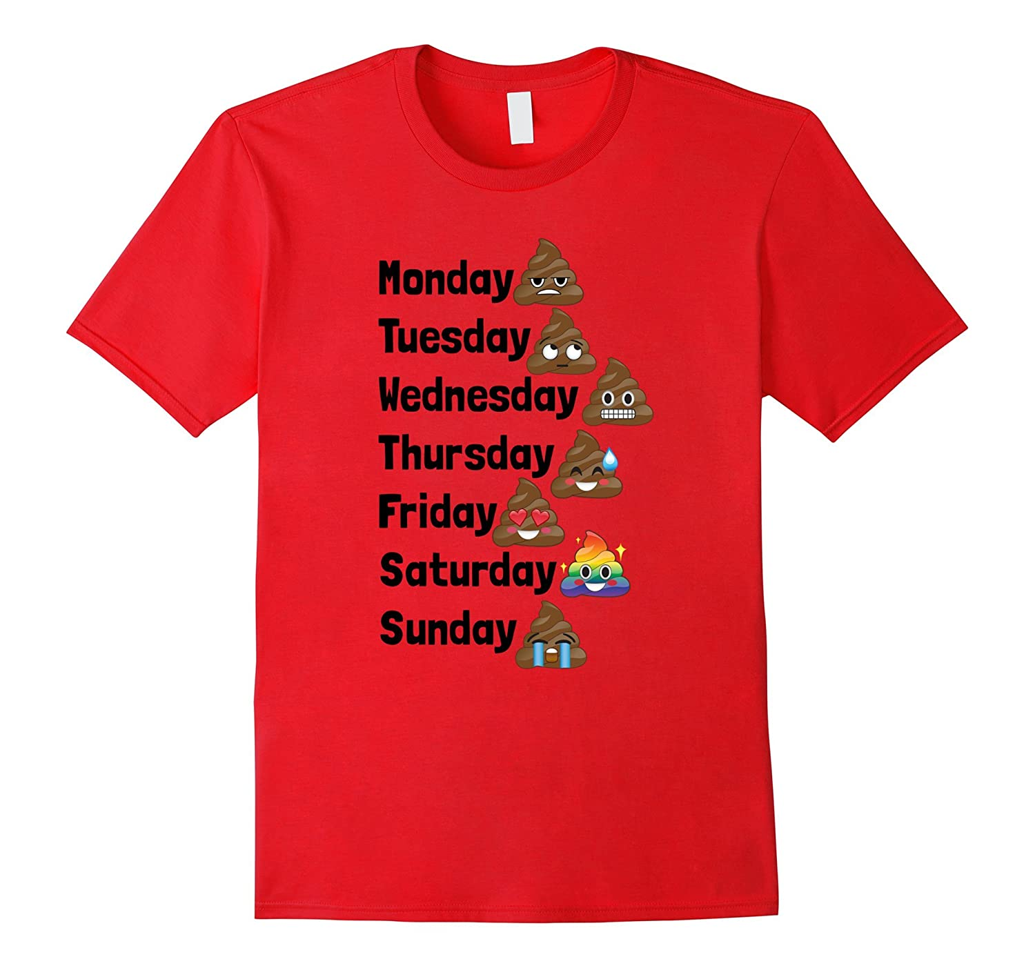 Funny Emoji Poop Days of the Week Shirt for Kids  Adults