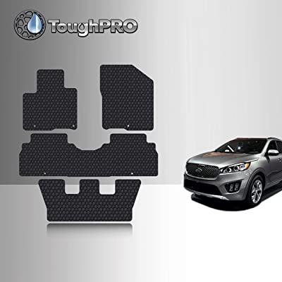 TOUGHPRO Floor Mat Accessories 1st + 2nd + 3rd Row Compatible with Kia Sorento - All Weather - Heavy Duty - (Made in USA) - Black Rubber - 2016, 2020, 2020, 2020, 2020: Automotive