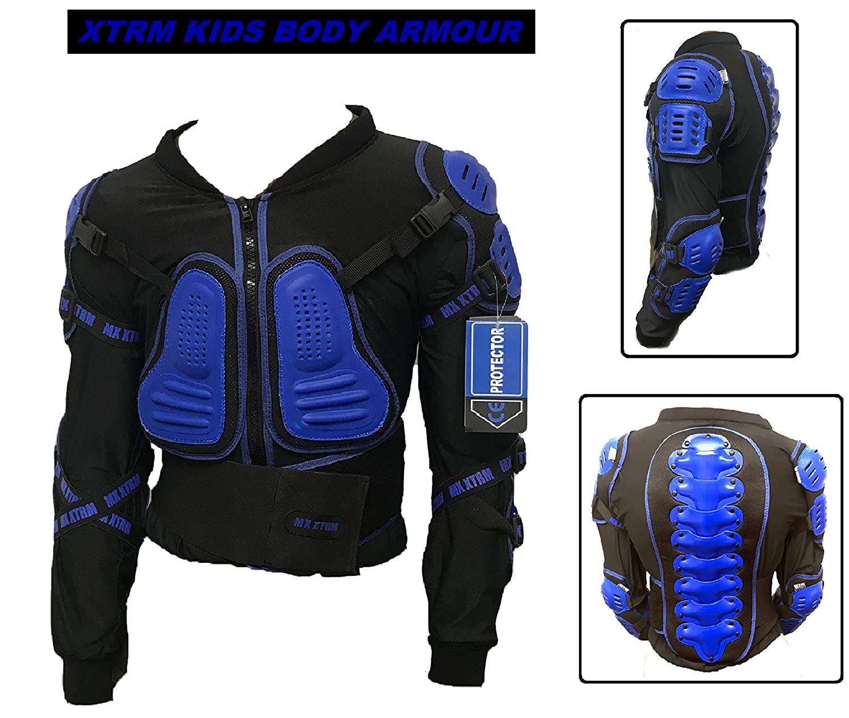 XTRM Kids Body Armour and Knee Guards Motocross Motorbike CE Approved Junior Mx Quad Kart Dirt Bike ATV BMX Racing Childrens Protective Gear